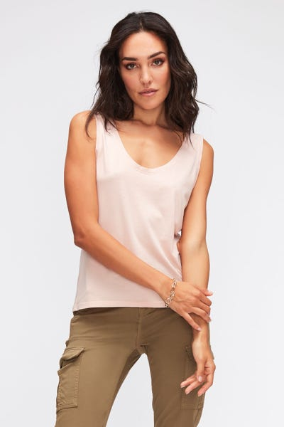 TANK CUTIL W/EMBROIDERY PINK