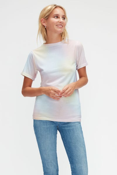 ROLLED UP SLEEVES BABY TEE CUTIL W/EMBROIDERY MULTICOLOUR