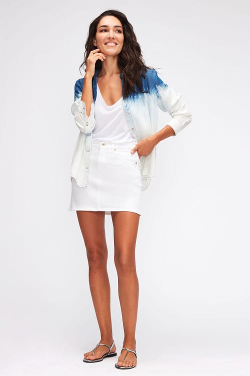 A-LINE SKIRT COLORED TWILL  WHITE