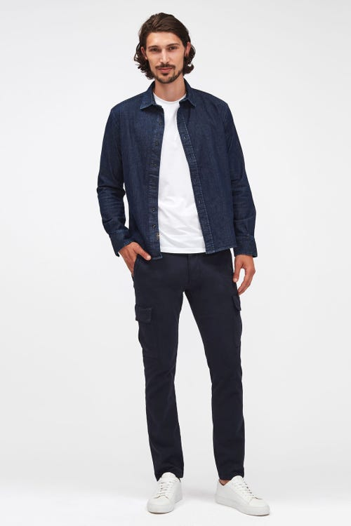 SLIMMY TAPERED CARGO CHINO LUXE PERFORMANCE SATEEN NAVY