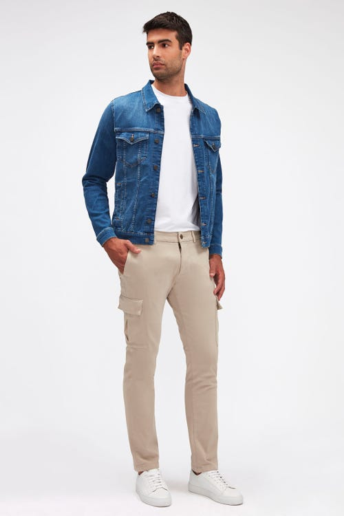 SLIMMY TAPERED CARGO CHINO LUXE PERFORMANCE SATEEN STONE