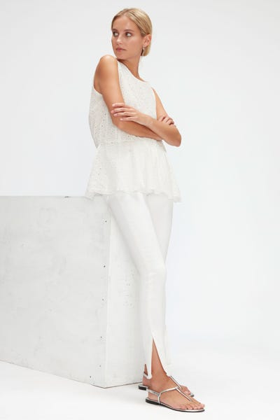 HW SKINNY CROP COLORED SLIM ILLUSION CLOUD WITH SPLIT FRAYED HEM