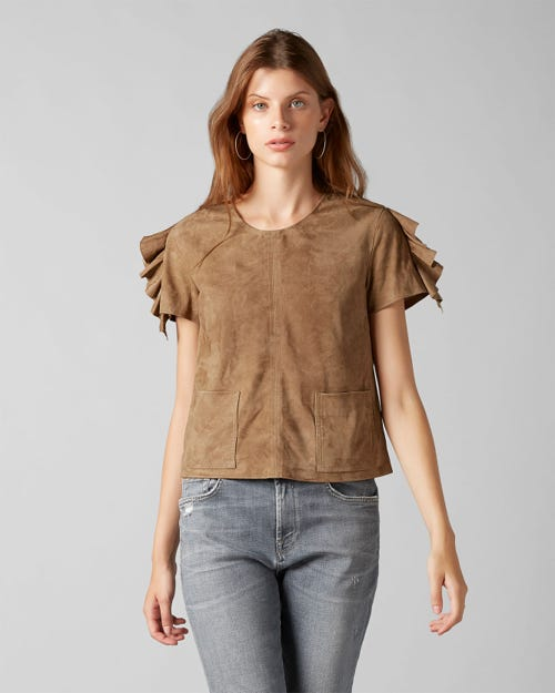 7 For All Mankind - Top Suede Whiskey With Ruffles