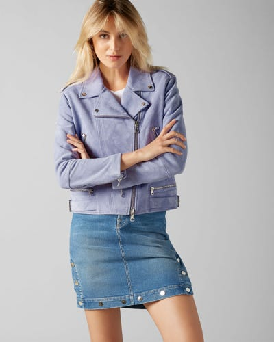7 For All Mankind - Moto Jacket Suede Lilac