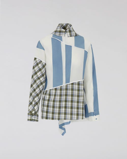 7 For All Mankind - Scarf Collar Shirt Multicolours Checks M'A X 7Fam