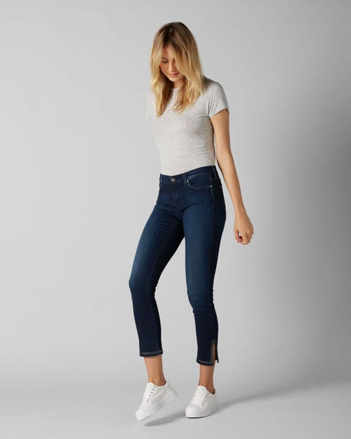 7 For All Mankind - Pyper Crop Slim Illusion Luxe Cruz With Rhinestones Split Hem