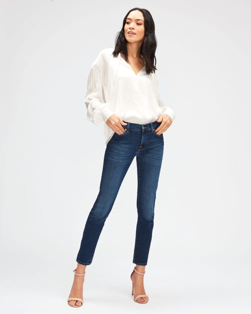7 For All Mankind - Mid Rise Roxanne Crop B(Air) Duchess