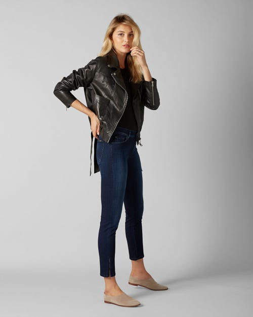 7 For All Mankind - Mid Rise Roxanne Crop Slim Illusion Luxe Cruz With Tonal Bartacks