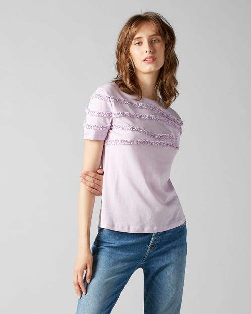 7 For All Mankind - Short Sleeve Tee Jersey Lilac Frilly Ruffled