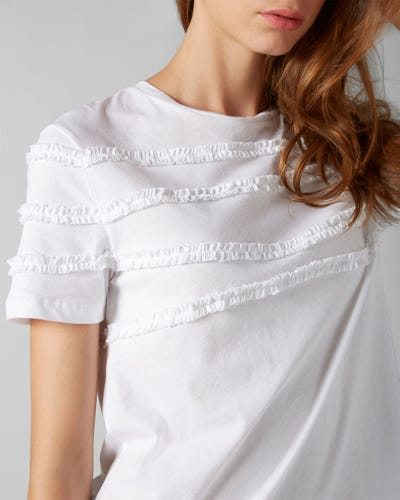 7 For All Mankind - Short Sleeve Tee Jersey Optical White Frilly Ruffled