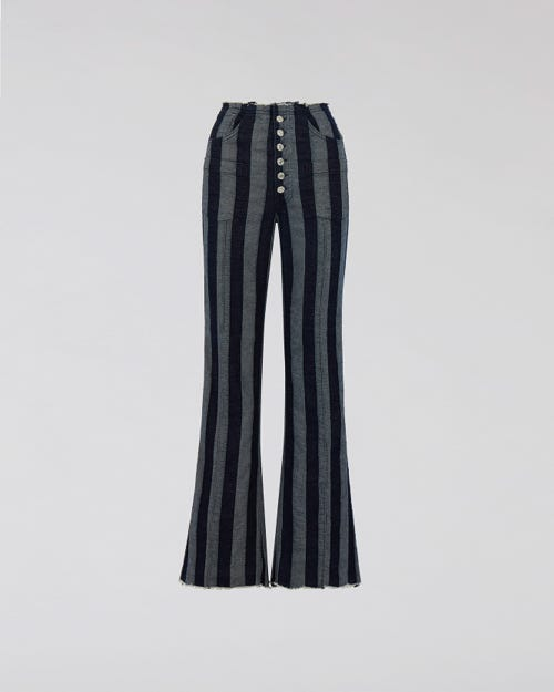 7 For All Mankind - High Waist Flare Striped Denim M'A X 7Fam