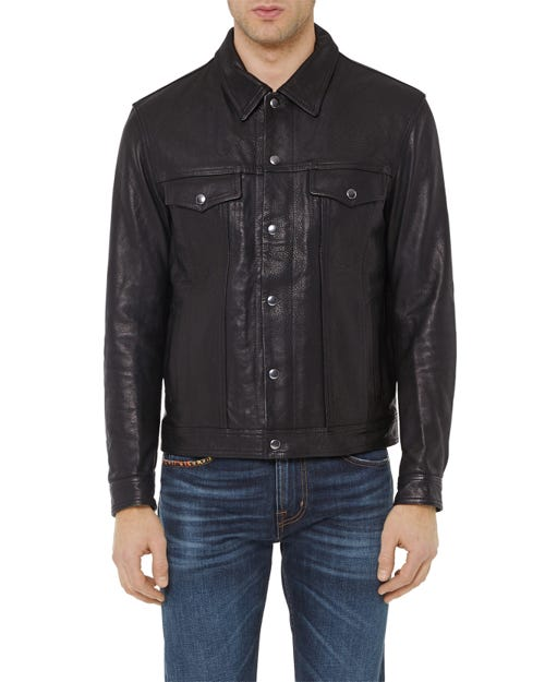 TRUCKER JACKET LEATHER BLACK