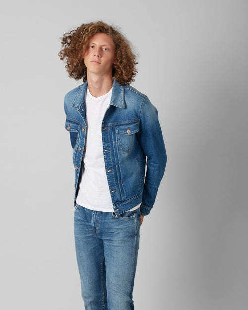 7 for all Mankind - TRUCKER PLEATED JACKET BROADWAY SHADOW MID BLUE