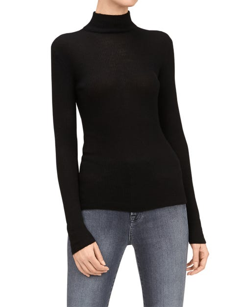 MOCK NECK SWEATER SILK CASHMERE BLACK