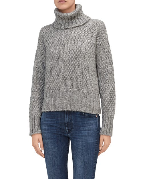 TURTLE NECK SWEATER MIXED FABRICS GREY