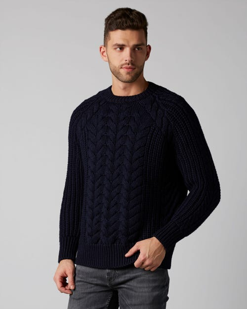 CREW NECK KNIT MERINO INK BLUE