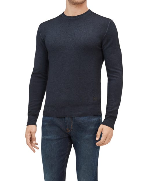 CREW NECK KNIT WOOL ABRASIONS INK BLUE