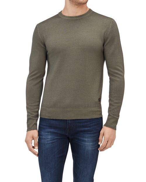 CREW NECK KNIT WOOL ABRASIONS FOREST NIGHT