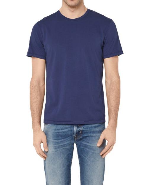 T-SHIRT COTTON BLUE WITH BLACK