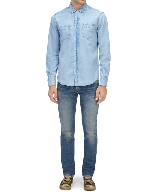TWO POCKETS SHIRT STRETCH DENIM LIGHT BLUE