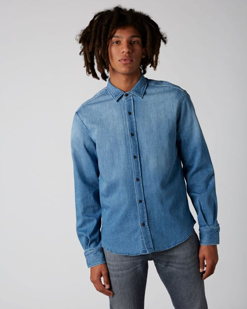 PLAIN SHIRT STRETCH DENIM MID BLUE