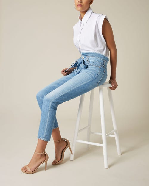 7 For All Mankind - Paperbag Waist Pant Bright Blue Jay