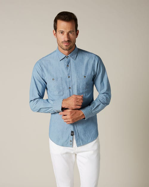 2 POCKETS SHIRT CHAMBRAY LIGHT BLUE