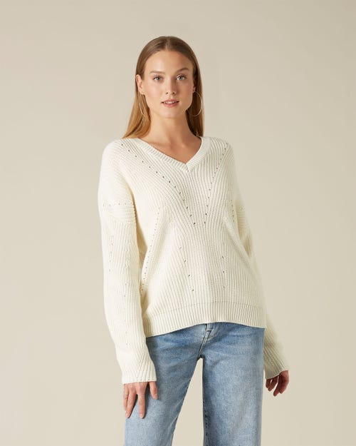 LONG SLEEVE V-NECK COTTON WOOL POINTELLE MILK