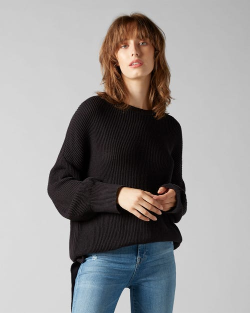 CREW NECK KNIT COTTON WOOL BLACK WITH COULISSE