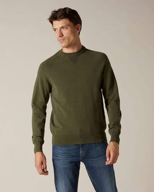 CREW NECK KNIT LUXE PERFORMANCE VISCOSE ARMY