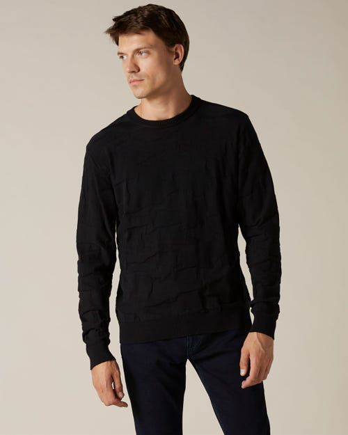 CREW NECK KNIT COTTON CAMOUFLAGE BLACK