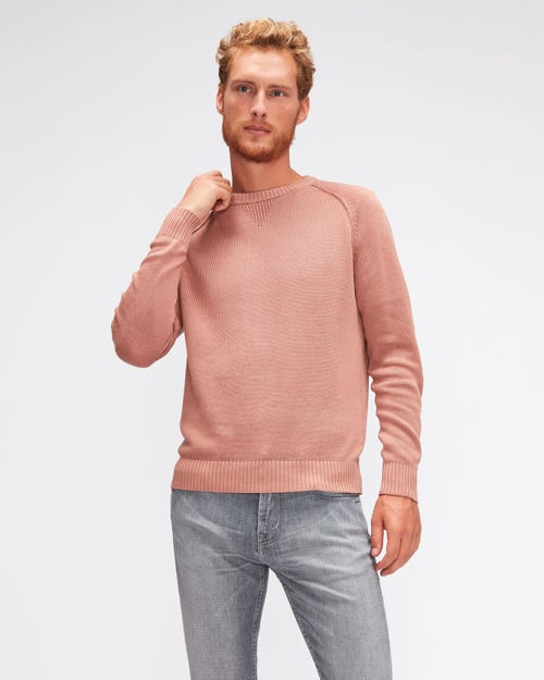 RAGLAN CREW NECK COTTON LINEN  DUSTY PINK