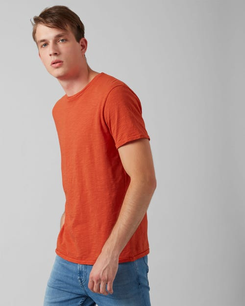 7 for all Mankind - T-SHIRT SLUB TIGER ORANGE