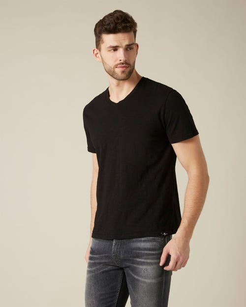 V-NECK T-SHIRT SLUB BLACK