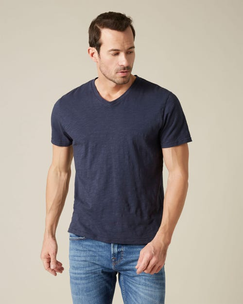 V-NECK T-SHIRT SLUB NAVY