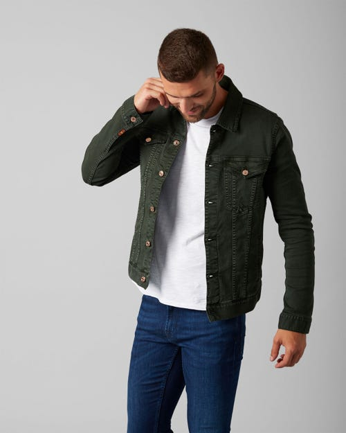 7 For All Mankind - Trucker Jacket American Colors Avocado Green