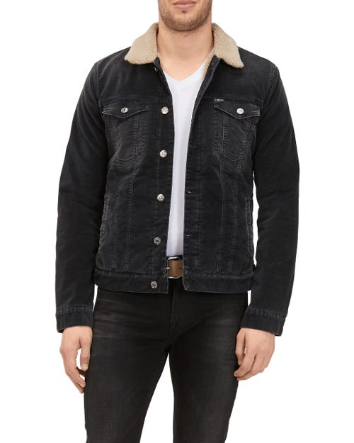 TRUCKER JACKET VELVET COAL BLACK