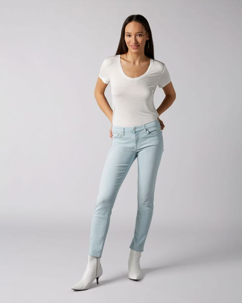 7 For All Mankind - Pyper Crop Slim Illusion Luxe Surfside With Embellished Label