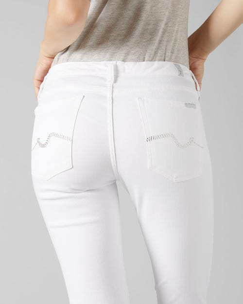 7 For All Mankind - Pyper Crop Slim Illusion Pure White With Embellished Squiggle