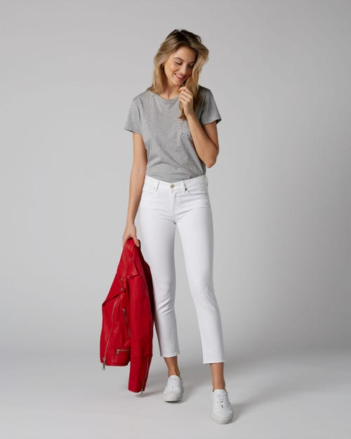 7 For All Mankind - Mid Rise Roxanne Crop Pure White