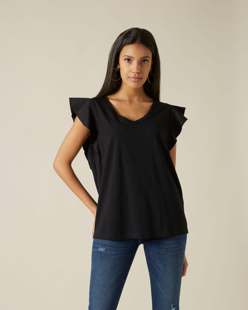 RUFFLE V NECK TEE CUTIL RUFFLE ON SLEEVES BLACK