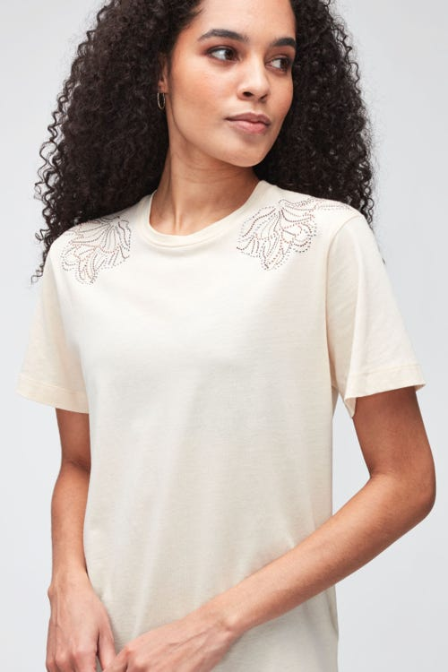 STUDDED TEE CUTIL  WINTER WHITE