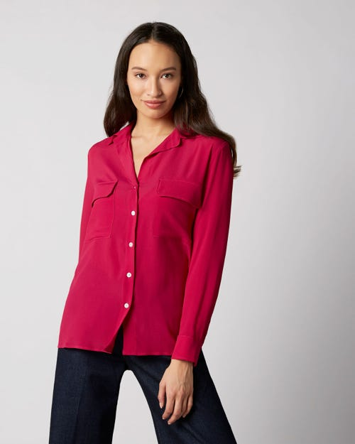 7 For All Mankind - V-Neck Shirt Acetate Silk Fuchsia