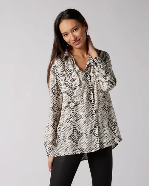 7 For All Mankind - V-Neck Shirt Crepe Snakeskin