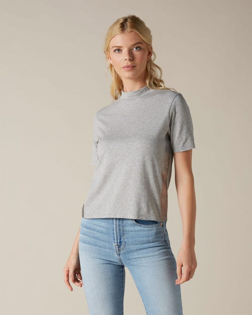 MOCK NECK TOP COTTON LIGHT GREY MELANGE SILVER LAMINATED OUTSEAM STRIPE