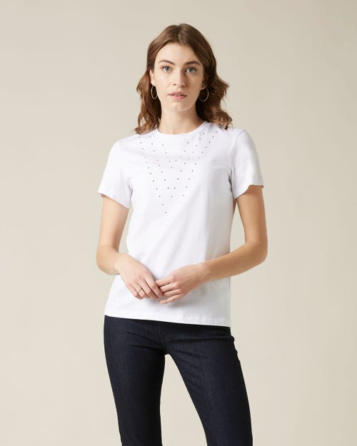 STUDDED TEE COTTON WHITE WITH STUDS