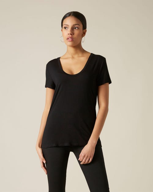 7 For All Mankind - Rayon U Neck Tee Reactive Dye Black