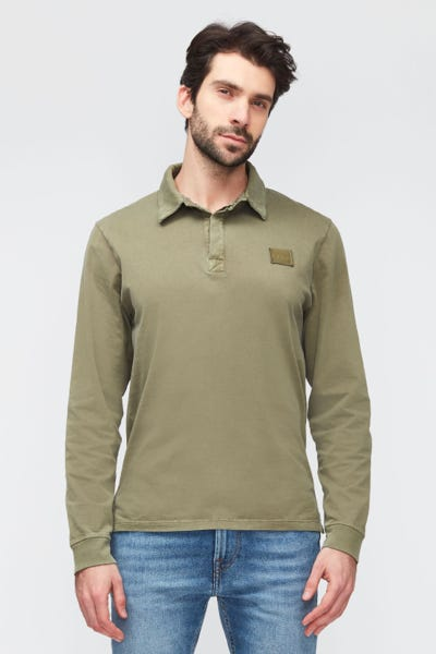 POLO L/S OLD DYE  WASHED ARMY