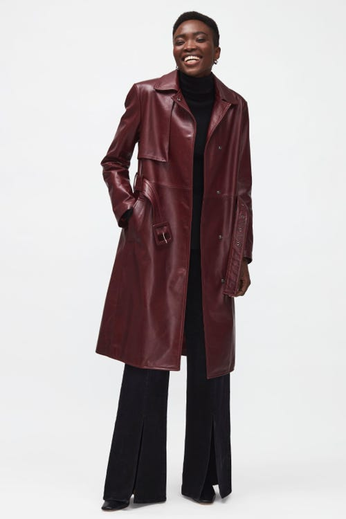 TRENCH COAT LEATHER  SANGRIA
