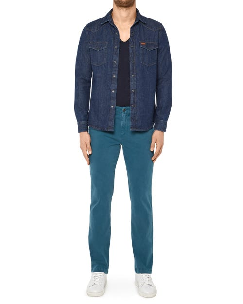 SLIMMY CHINO LUXE PERFORMANCE SATEEN DEEP TEAL
